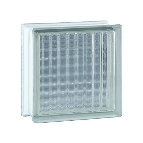 6 piezas BM bloques de vidrio lineas cruzadas SUPER white 19x19x8 cm
