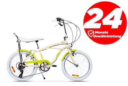 "Ape Rider Damenfahrrad Herrenfahrrad - 20\"" Comfort Fahrrad 7 Gang Fahrräder - Empfohlene Höhe 140-170 cm (Creme)"