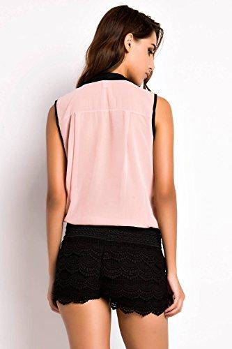 ACHICGIRL Women Hot Sale Paneled V Neck Sleeveless Chiffon Blouse Corail