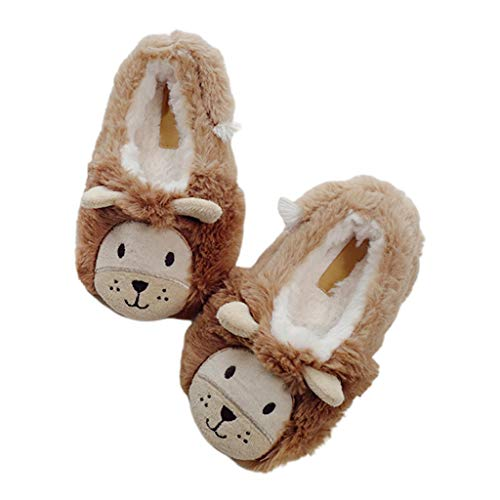 HavanaYZ Toddler Kids Winter Cartoon Lion Animal Embroidery Booties Fuzzy Home Slippers