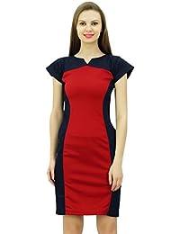 Bimba Diseñador de las mujeres del dril de Vestido ajustado Cap manga corta vestidos de panel