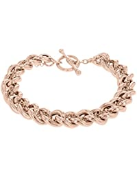 Tuscany Silver Sterling Silver Rose Gold Plated T-Bar Curb Chain Bracelet of 21cm/8""