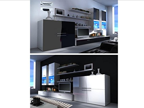 Beta Living Room Set - High Gloss Entertainment Package   Wall Units   TV Stand   LED Lights   Floating Shelves   Cabinets
