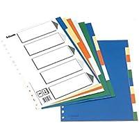 Esselte Separadores de plástico, PP, Tamaño A4, Gama ECO, 5 pestañas, Multicolor, 11709