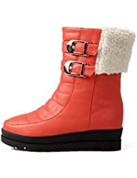 Best 4U® Zapatos calientes de invierno de las mujeres PU hebilla de metal tacones planos Botas de nieve Ronda...