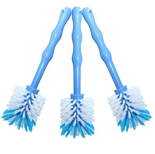 3er Pack Mixtopf Spülbürste mit Nylonborsten - ideal zum Reinigen von Mixtöpfen wie z.B. Thermomix ® TM5/TM31 und Mixtöpfe anderer Hersteller - 3x Blau