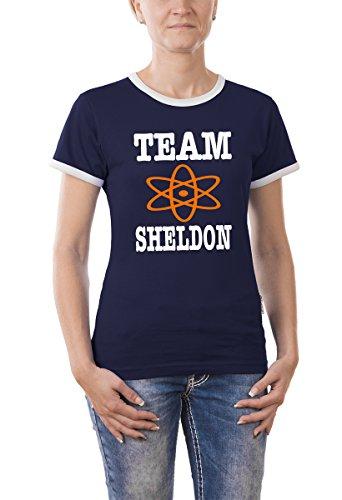 Touchlines Damen The Big Bang Theory - Team Sheldon Girlie Ringer T-Shirt, navy, M, B9215-Navy-M, (Art-damen-ringer)