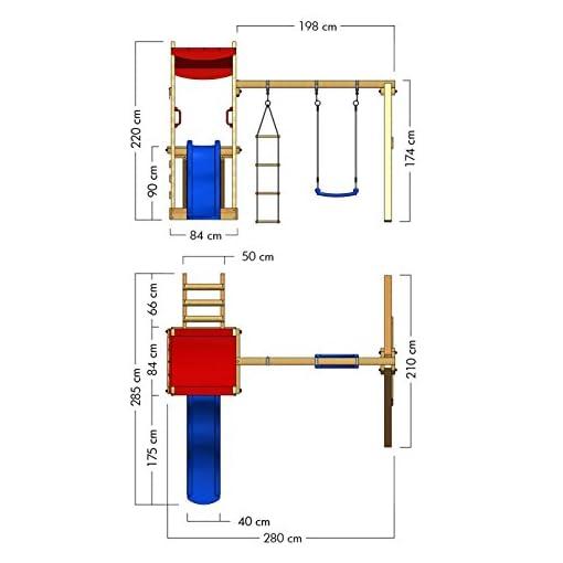 WICKEY Spielturm FunFlyer Spielhaus mit Schaukel Sandkasten Kletterleiter, Kletterturm blaue Rutsche + rote Plane