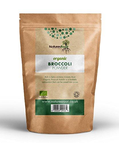 Natures Root Biologisches Brokkoli Pulver 125g - Antioxidantisches Superfood   Biologisch zertifiziert  Koscher  Vegan Unverarbeitet Nicht-MO - Fördert die Verdauung & das Immunsystem