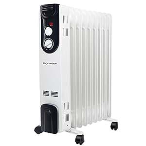Aigostar 33LCJ - Radiateur à bain d'huile de 9 éléments et 2000W. Double tube chauffant, 3 réglages de puissance et contrôle de la température par thermostat. Noir et blanc. Design exclusif.