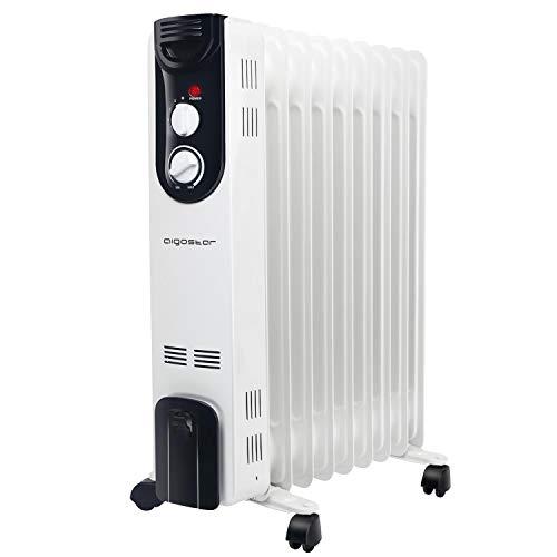 Aigostar 33LCJ - Radiador de aceite de 9 elementos, 2000W, doble tubo de calentamiento, 3 ajustes de potencia y control termostático de temperatura. Color blanco y negro. Diseño exclusivo.