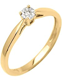 Bague Solitaire - Or jaune 9 cts - Diamant 0.05 cts - 191556.40