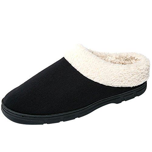 Pantofole Invernali Traspiranti Da Uomo Autunno Inverno Pantofole Traspiranti Pantofole Antiscivolo In Cotone Nero-1