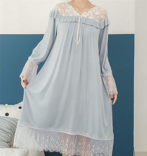 LLU Pyjamas Frauen Sommer Langarm Spitze Gericht Stil Openwork Mesh Baumwolle Sexy Prinzessin Wind Nachthemd Frühling und Herbst, Blue (Pflege-langarm-nachthemd)