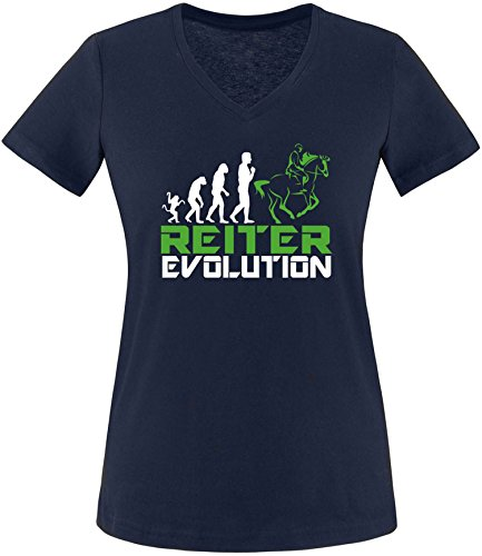 EZYshirt® Reiter Evolution Damen V-Neck T-Shirt Navy/Weiß/Grün