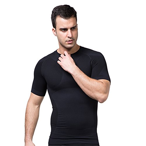BaronHong Compression Body Shaper Mens Ginnastica all'aperto Trainning Quick Dry Short Sleeve Undershirt Travel Protezione solare Fitness Running Clothing Nero