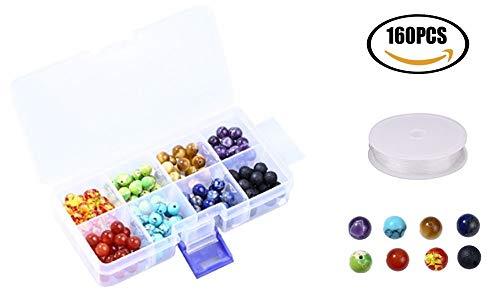 Feelava 8mm 140 Pieces Coloré Perles de Chakra et 20 Pièces Noir Perles de Pierre de Lave volcanique Pierre avec 1 Rouleau élastique Cristal Cordon et boîte de Rangement en Plastique,160 PCS/BOÎTE