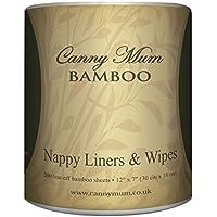 CannyMum Voiles de protection en bambou pour couches lavables / Lingettes bambou (200 feuilles par rouleau)