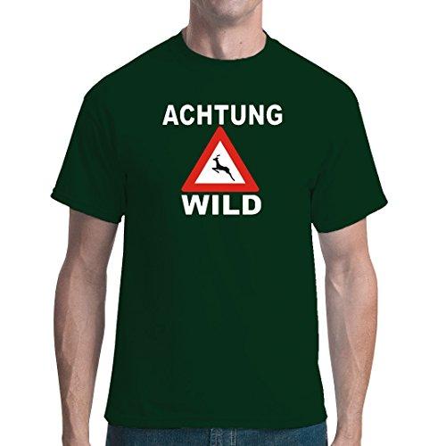 Fun unisex T-Shirt - Achtung, Wild by Im-Shirt Bottle Green