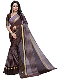 G Stuff Fashion Women Cotton Saree With Blouse Piece_1095_Brown_saree