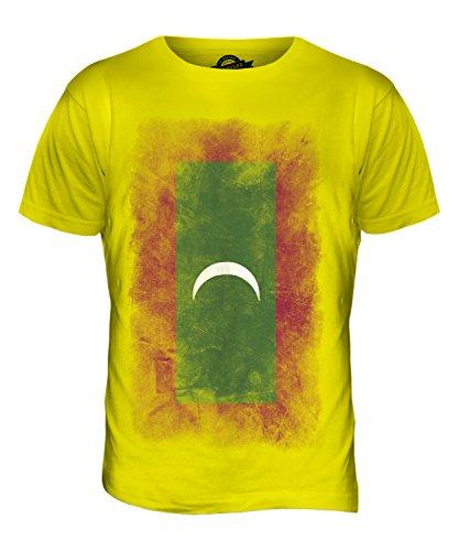 CandyMix Malediven Verblichen Flagge Herren T Shirt Zitronengelb
