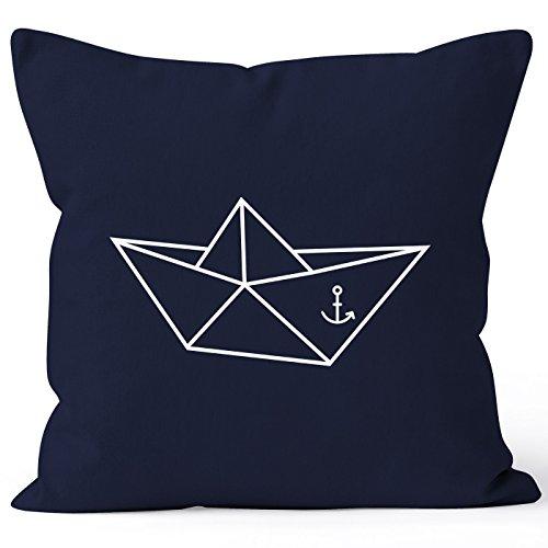 Kissenbezug Origami Schiffchen Schiff Anker Seemann Kissen-Hülle 40x40 Baumwolle Moonworks® navy 40cm x 40cm