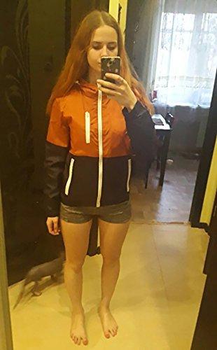 Nantersan Damen Laufjacke leichtes Winddicht Übergangs jacken Draussen Kapuzenjacke für Mädchen Softhelljacke Windbreaker Orange