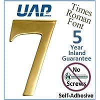 UAP - Número 7 autoadhesivo de latón pulido para la puerta, fuente Times Roman, 76,2 mm, color dorado