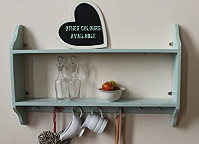 Shabby chic two tier shelf with Shakers pegs, green, 3 sizes available