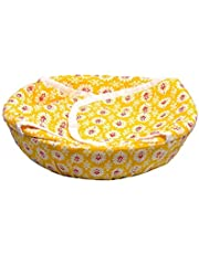 Roti Cotton Cloth Basket, Washable with Chain, Traditional Roti Rumals with Assorted Colour, 100% Pure Cotton Cover Size :- 9 * 24 * 24 cm