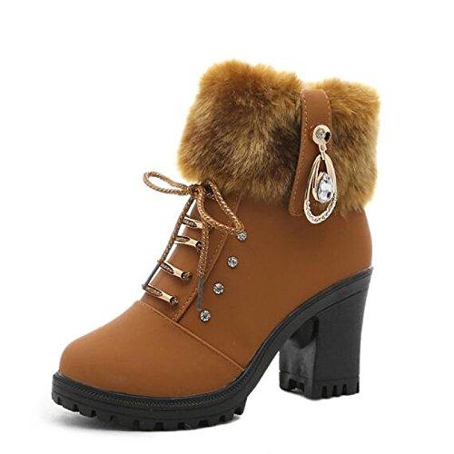 HSXZ Scarpe donna vera pelle Autunno Inverno pom-pom moda Scarpe Stivali Stivali Chunky tallone punta tonda Mid-Calf scarponi per Casual marrone nero Brown