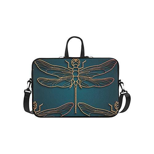 Applique Messenger Bag (Libelle Muster Schwarz Gold Muster Design Muster Aktentasche Laptoptasche Messenger Schulter Arbeitstasche Crossbody Handtasche Für Geschäftsreisen)