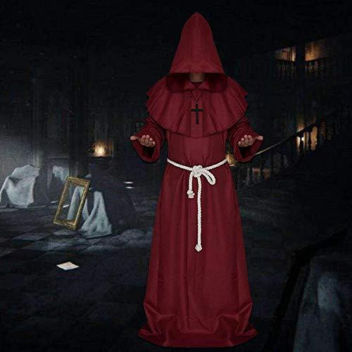Kostüm Tuck Friar - MU Maskerade Mann Halloween Kostüme Deluxe Robe Mantel Unisex Friar Tuck Kostüm Erwachsene Cosplay für Party Festival,Weinrot,* -Groß