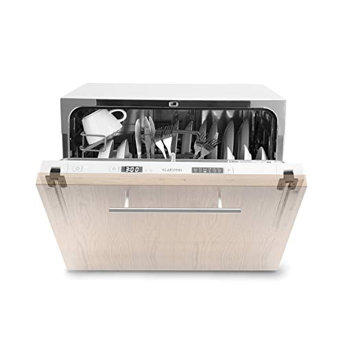 klarstein amazonia 6 secret - lavastoviglie, lavastoviglie ad incasso, classe energetica a+, 6 programmi, display a led, aquastop, ideale per piccole cucine, incl. cestello posate, bianco
