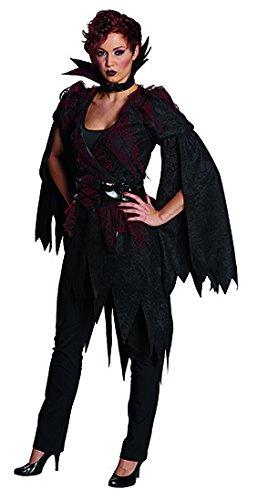 Generique - Elegantes Hexen-Kostüm Mit Stehkragen für Damen Halloween schwarz