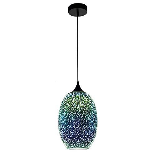 Liunce Mundgeblasene 3D Feuerwerk Glas Schatten Küche Insel Decke hängende Beleuchtung moderne kreative Silber Finish Pendelleuchten Esszimmer Persönlichkeit Farbe Glas Tropfen Licht einstellbar E27 / -