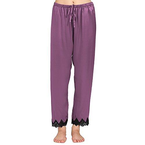 Lilysilk Pantalon Fluide en Soie 22 Momme Liseré Dentelle Bas de Pyjama Femme 100% Soie Violet