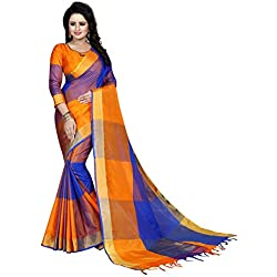 J B Fashion Women's Cotton Silk Saree With Blouse Piece (Ekkat-4-_Orange)