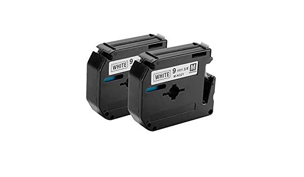 2PK Black On White Label Tape M-K221 MK221 For Brother P-Touch PT-70BMH 9mm
