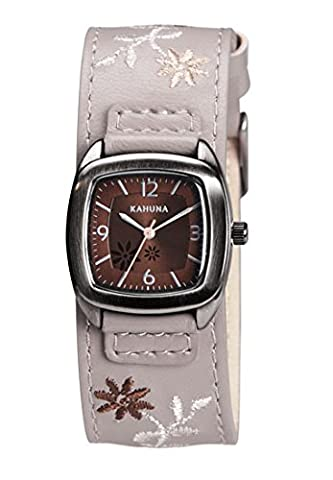 Kahuna Women's Quartz Watch with Brown Dial Analogue Display and Grey PU Cuff Strap Watch KLS-0227L