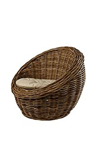 Fauteuil pour les enfants, chaise ronde en rotin avec coussin