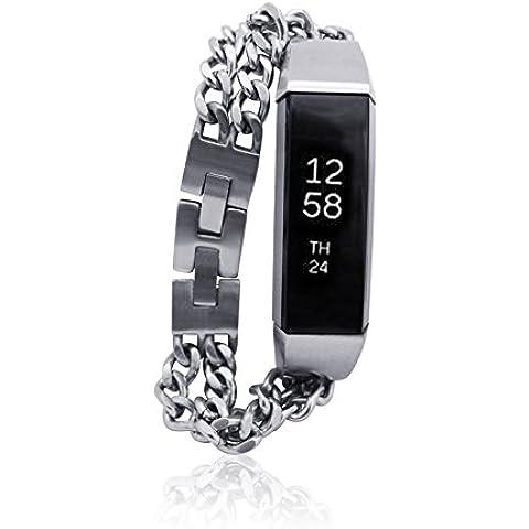 Fitbit alta Bracciale noe–FITBIT alta per Band–fitjewels–diverse versioni–Stainless Steel e pelle, argento, M-L (16,5-19 cm)