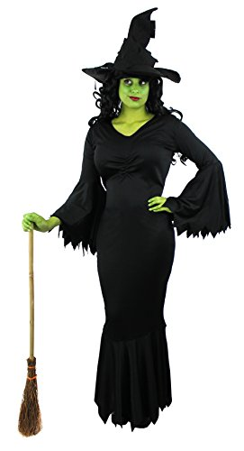 Damen-Hexen-Kostüm, böse Hexe, schwarzes Kleid + grünes Make-up + schwarzer Hexen-Hut, für Halloween