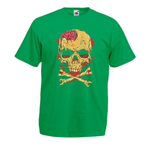 lepni.me camisetas hombre La calavera (Medium Verde Multicolor)