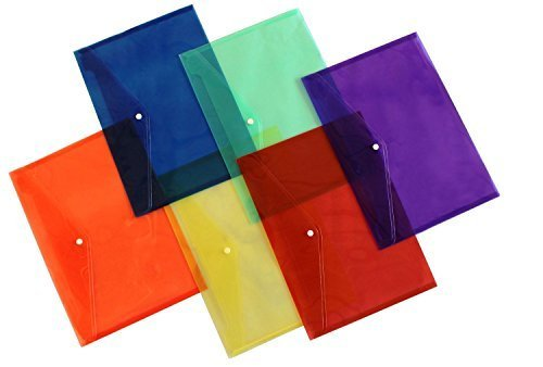 Stationary Station Clear Document Folder with Snap Button,premium Quality Plastic Envelope, Pack of 6 , Colored by Stationary Station Button-station