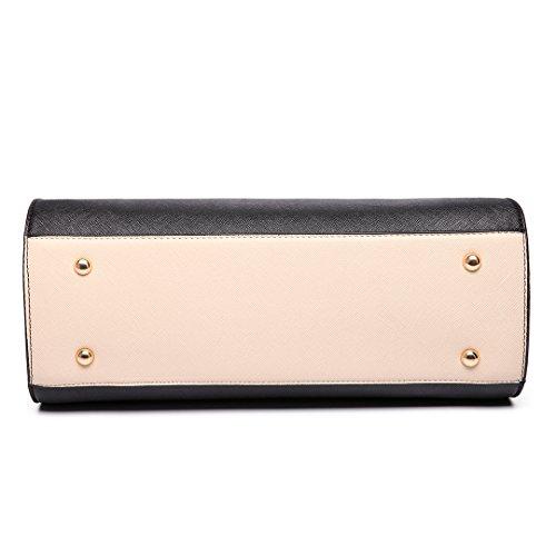 Schwarz Taschen Winged Handtasche 6627 Beige Umhängetasche Schultertasche Miss Klassische Damen Lulu Groß und wIHqH8vx
