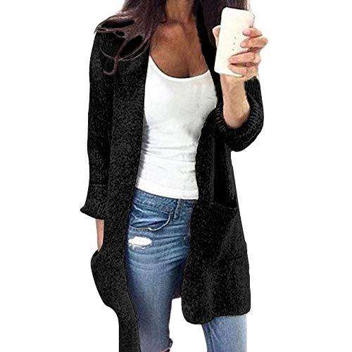 Dasongff Damen Long Knit Cardigan Strickjacke V-Ausschnitt Lose Outwear Strickmantel mit Taschen Kimono Sweaters Langarmshirts Offene Tops (Long Knit Floral Kleid)