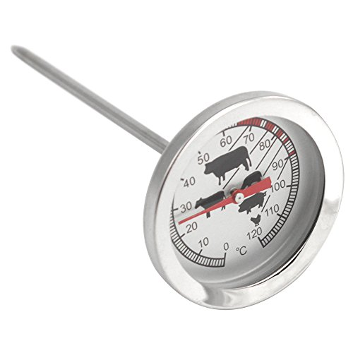 COM-FOUR® Edelstahl Bratenthermometer analog 0-120 °C 10cm Fleischnadel, Fleischthermometer, Einstichthermometer