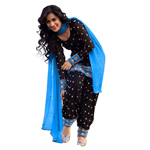 Muac new arrival Blue and black butty style designer traditional punjabi patiala suit