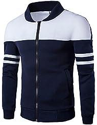 Juleya Hombre Chaquetas Sudadera Cálida Manga Larga Camiseta Larga Redondo Cuello Patchwork Coat Outwear Otoño Cardigan
